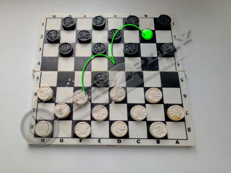 шашки, схема, как бить