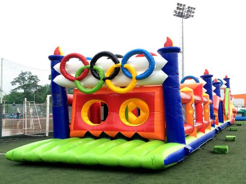 Надувной батут олимпийская полоса препятствий заказать в аренду
